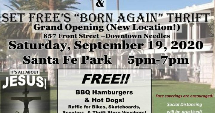 "Downtown Needles, CA: Set Free Church of Needles' 8th Anniversary Party and ""Born Again"" Thrift Store Grand Opening Celebration today."