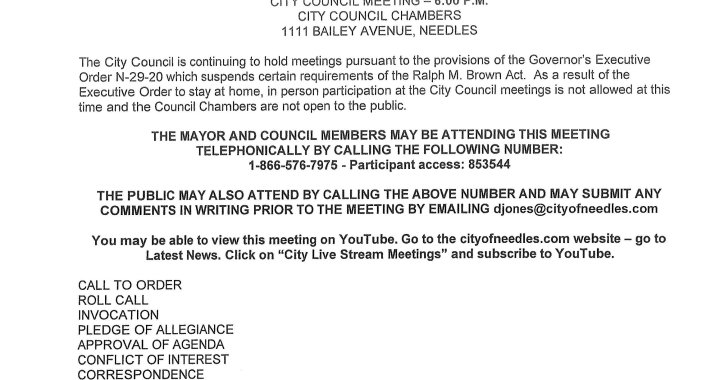 Needles, CA: Needles City Council and Needles Public Utility Authority Meeting on Tuesday.