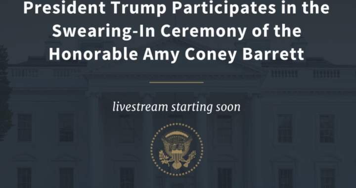 Breaking News: Washington, DC: Live Broadcast: United States President Trump participates in the swearing-in ceremony of the Honorable Amy Coney Barrett.