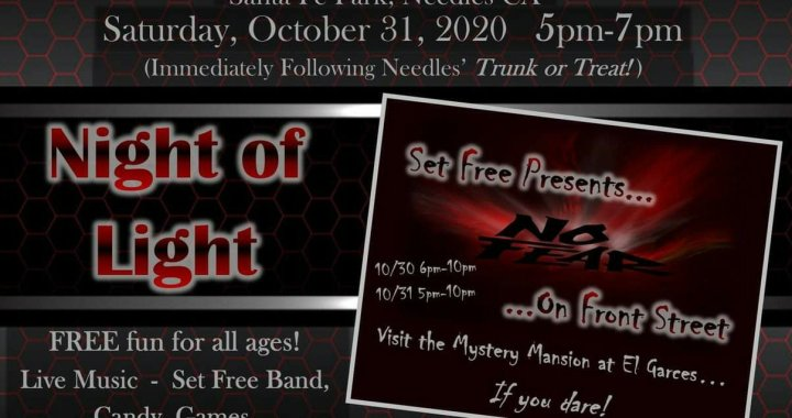 Downtown Needles, CA: Set Free Church of Needles' Night of Light at Santa Fe Park and Mystery Mansion events will be held for Halloween 2020.