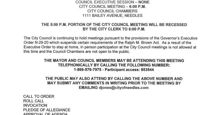 Needles, CA: Needles City Council Meeting on Tuesday.