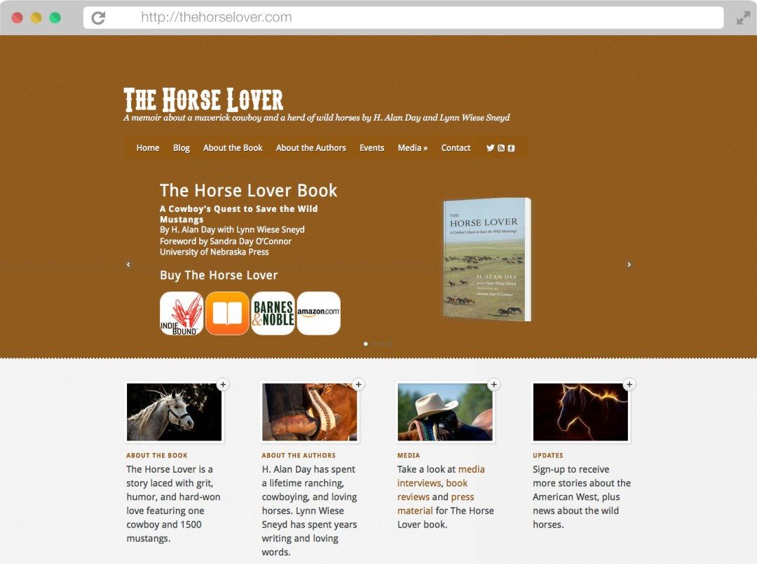 The Horse Lover book website browser mockup design