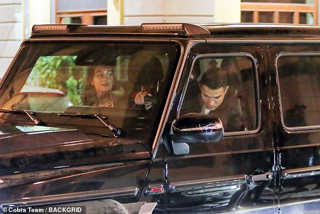Maiden voyage: Ronaldo climbed behind the wheel of his new car for the first time