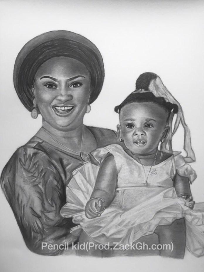 Pencil Kid's Artwork of Nana and Baby Maxin