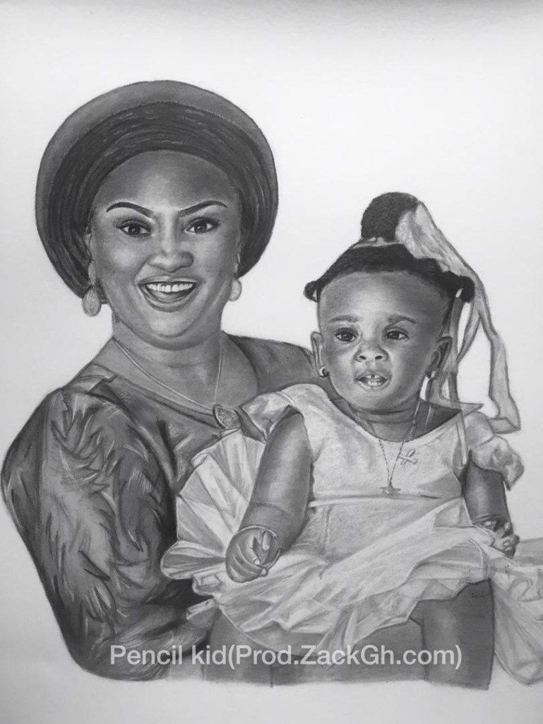 Pencil Kid's Artwork of Nana and Baby Maxin