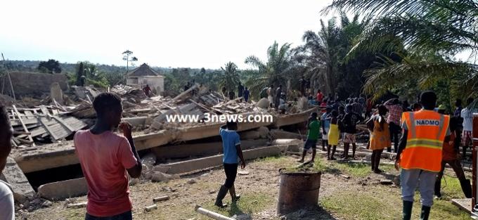 several injured as church building collapses at Akyem Batabi
