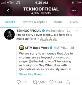 7F776384 8AEB 41D4 836E FC0E0A54946C Nigerian Singer Tekno Misses Interview On MTV Base West Because He Overslept