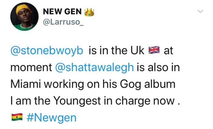 Larruso declares himself as the main man in charge of Dancehall in the absence of Shatta Wale and Stonebwoy