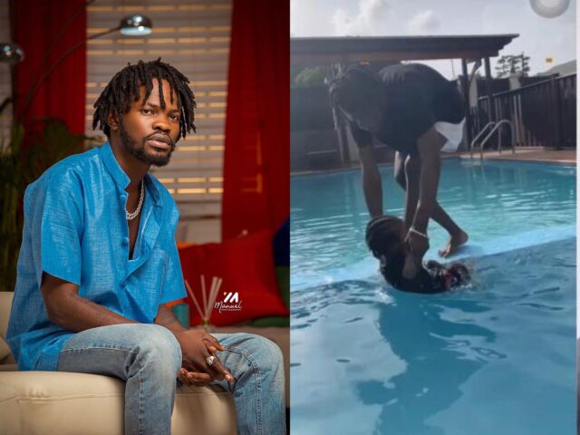 Fameye teaches son how to swim in a new video