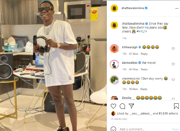 33F235BC 83D8 482D 9905 2CB7E3842987 Shatta Wale strips after he was accused of wearing 'fake' jeans [WATCH]