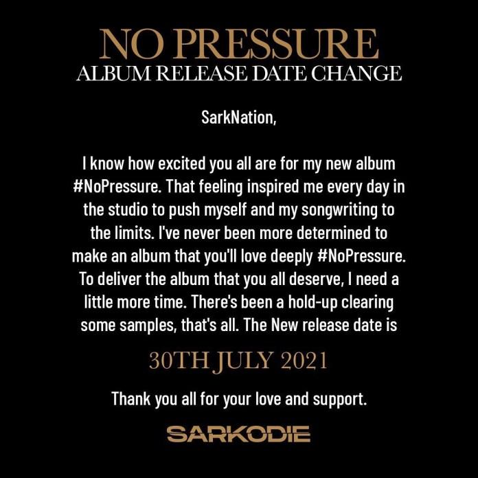 Sarkodie Announces Change In Album Release Date