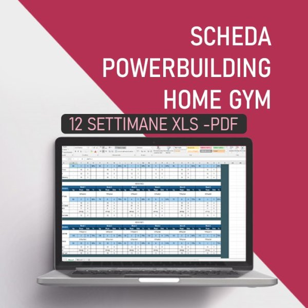 Scheda d'allenamento powerbuilding home gym 12 settimane