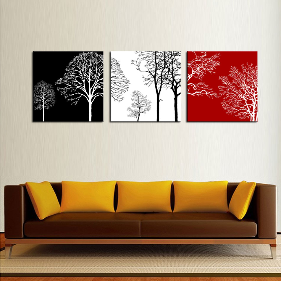 3 Panels Modern Painting Wall Art Black White And Red Tree Painting With  Wooden Framed Picture