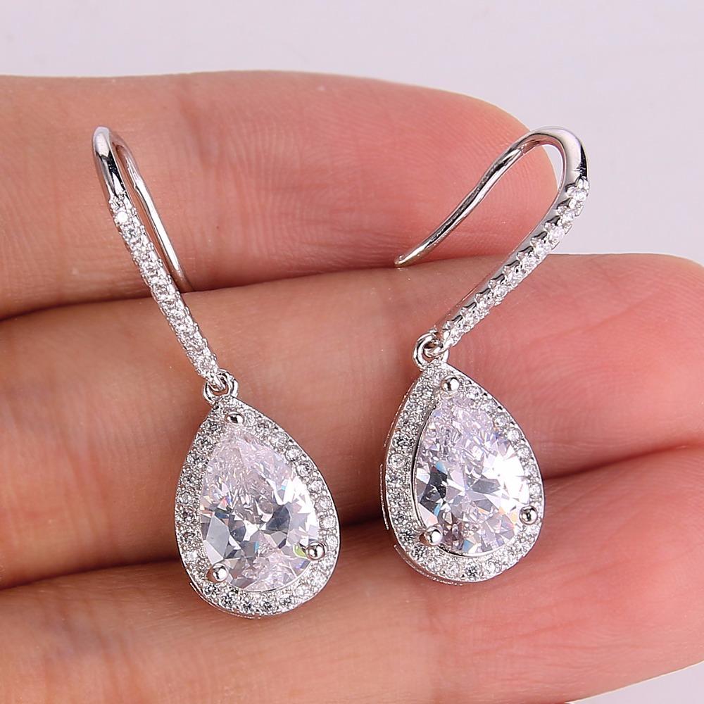 BELLA Elegant Long Teardrop Bridal Earrings Fish Hook Cubic Zircon ...