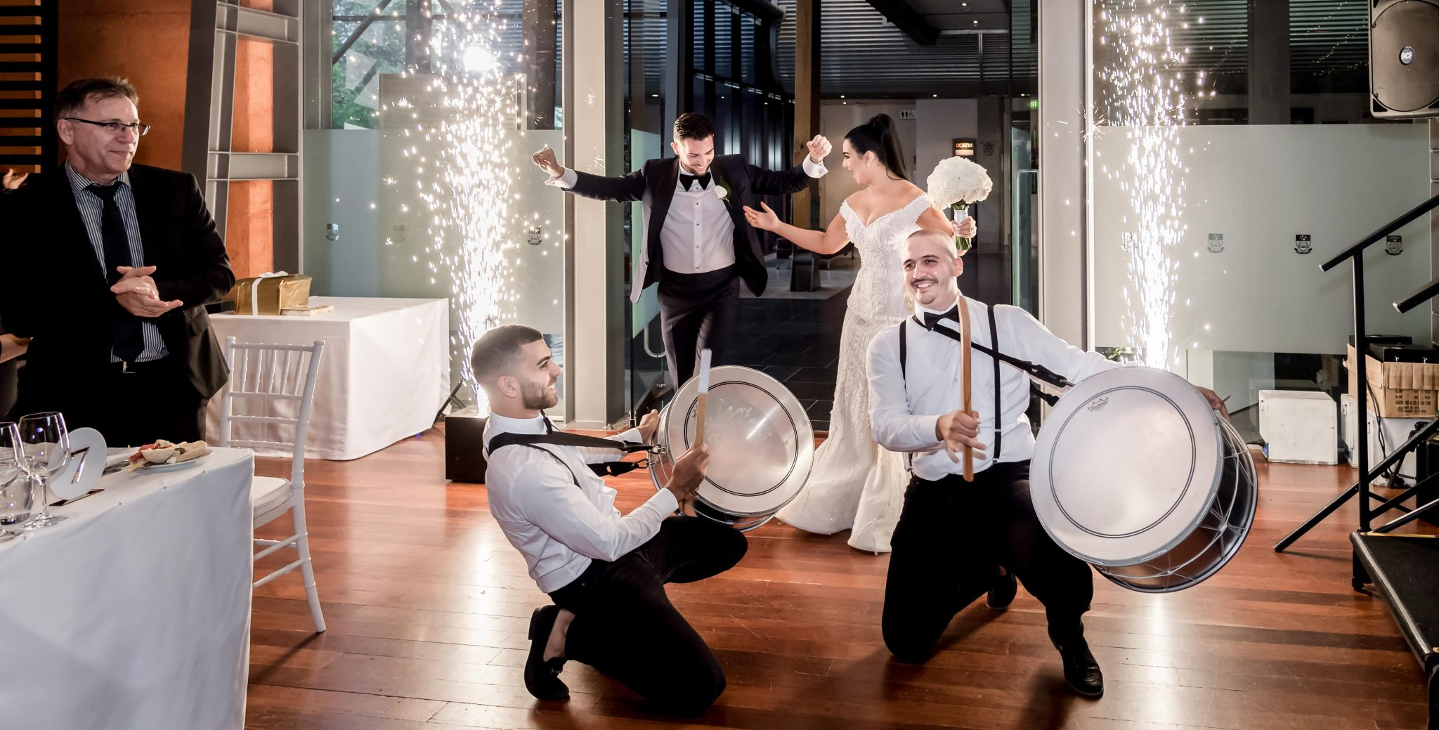 lebanese drummers at a wedding in adelaide with fireworks
