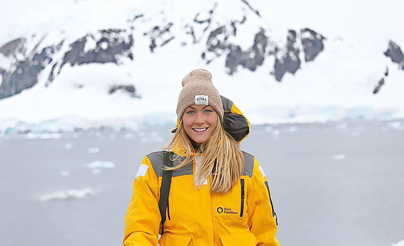 Cassie braved deathly cold temperatures at Paradise Bay in Antarctica.
