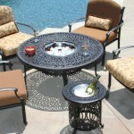 Outdoor chat table with fire pit and chairs