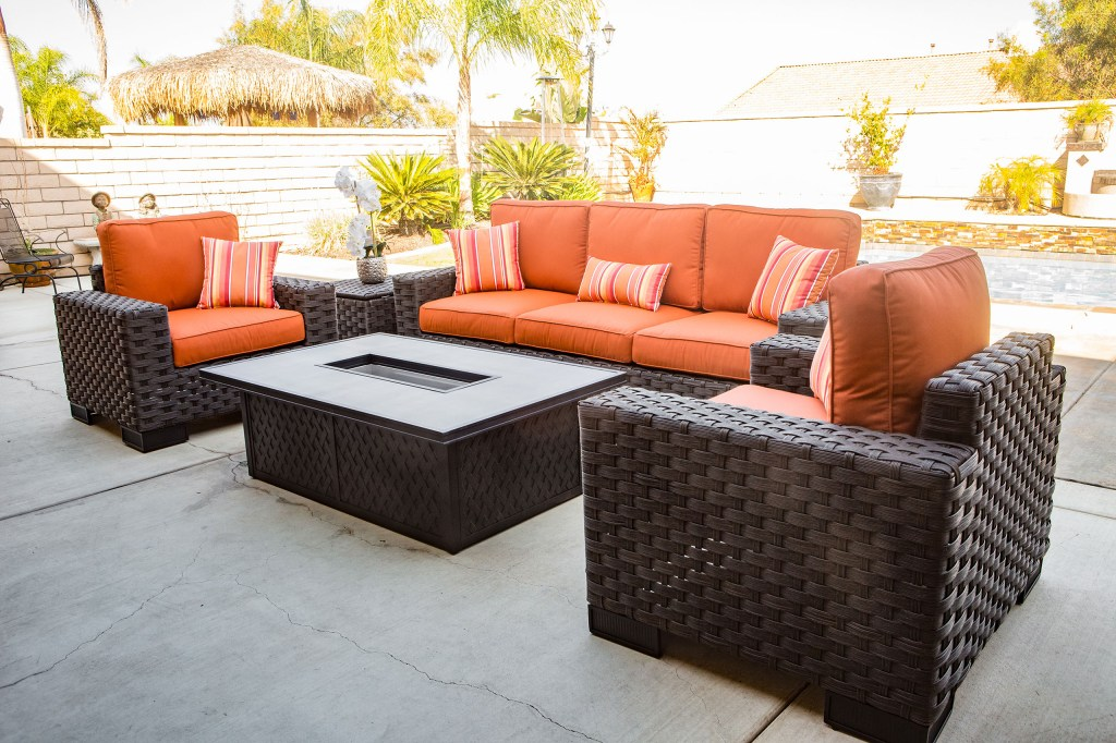 Outdoor sofa, love seat, and fire pit coffee table