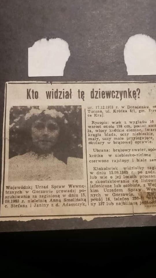 Wycinek prasowy o zaginięciu Ani Smolińskiej