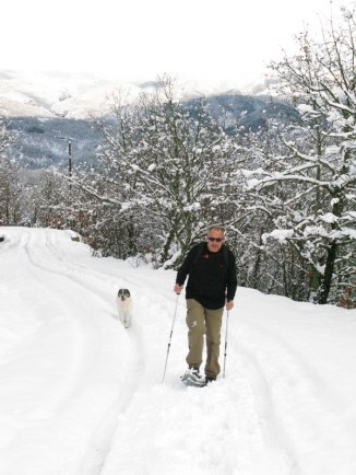 Snow rackets in Zagori, Greece