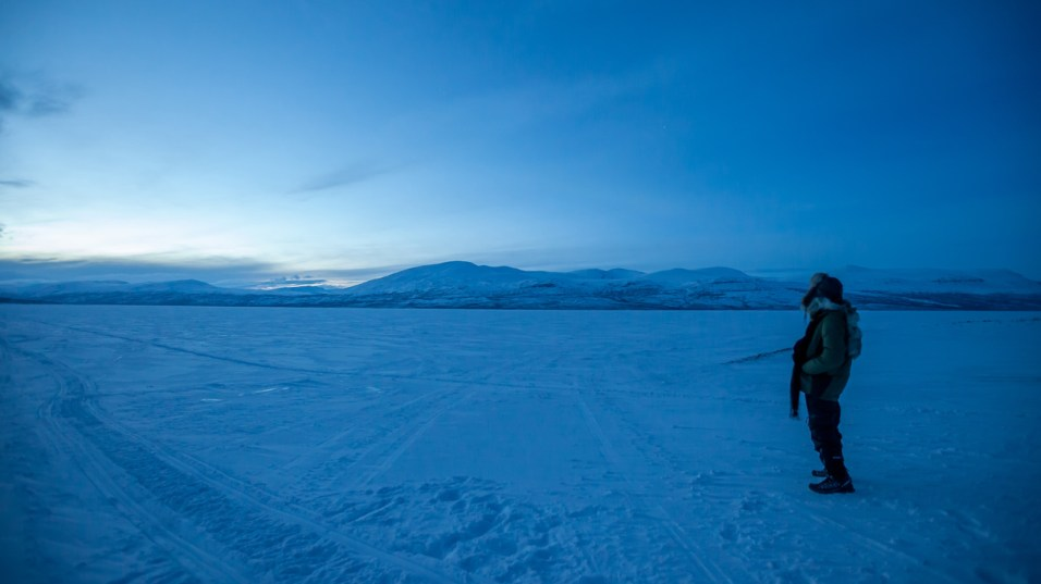 Frozen lake in the Arctic Tundra
