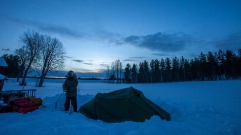 Coldest temperature (-31c), 60km before the Arctic Circle, Swedish Lapland