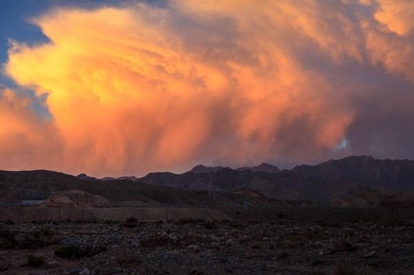 sunset in the Taklamakan Desert