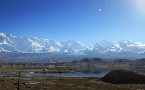 Kyrgyz yurts on the shore of Karakul Lake, Xinjiang