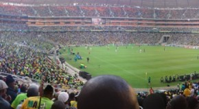 Capacity crowds at the opening of Soccer City