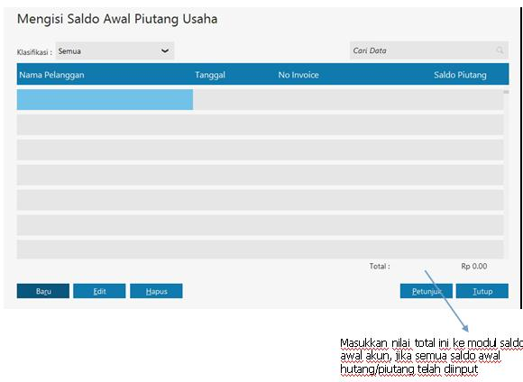 Zahir Accounting software - Saldo awal piutang_G