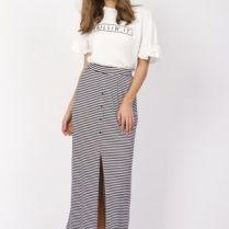 falda larga calzado plano