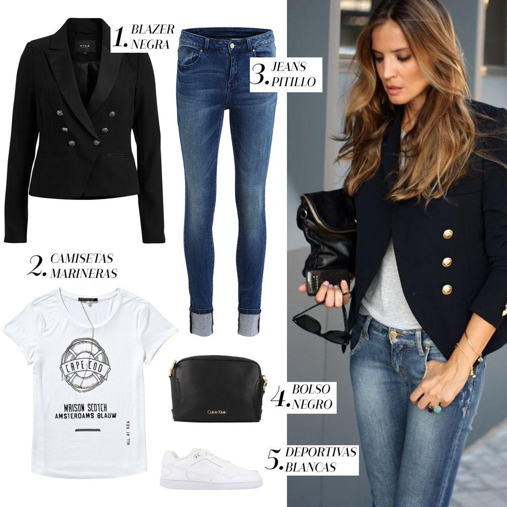 look-blazer-negra + zapatillas
