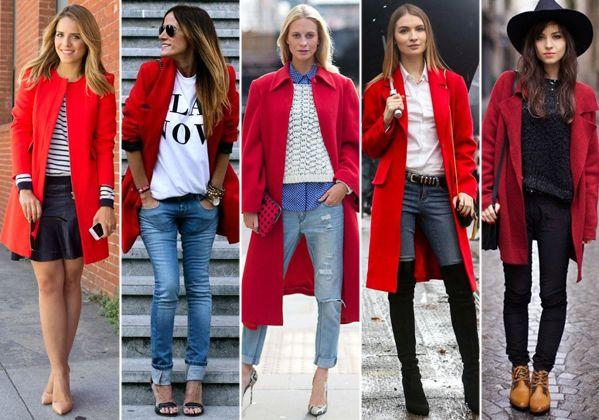 looks con color rojo abrigos