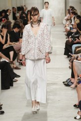 CHANEL resort 2014 Singapore - red white and blue jacket with white pants