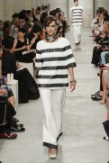 CHANEL resort 2014 Singapore - Stripped white and black top with white pants
