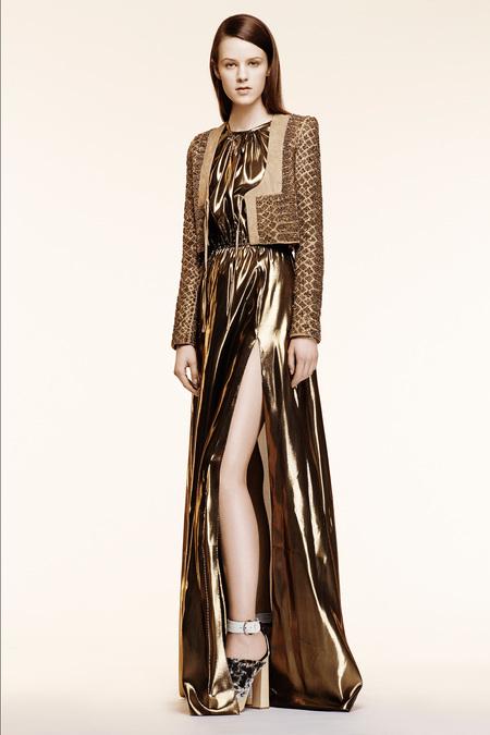 Altuzarra Resort 2014 - metallic gold dress and jacket