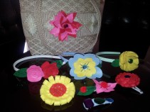Hair accessories and bag decorated with felt flowers
