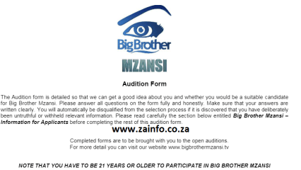Big Brother Mzansi Auditions 2021 -2022 | Application ...
