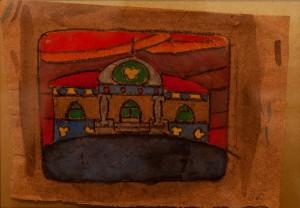 Косарєв Б. Ескіз театральної декорації, пап.гуаш, срібло, золото, вугілля