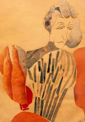 Косарєв Б. 'Портрет дружини', 1932, пап.ол., аплікація