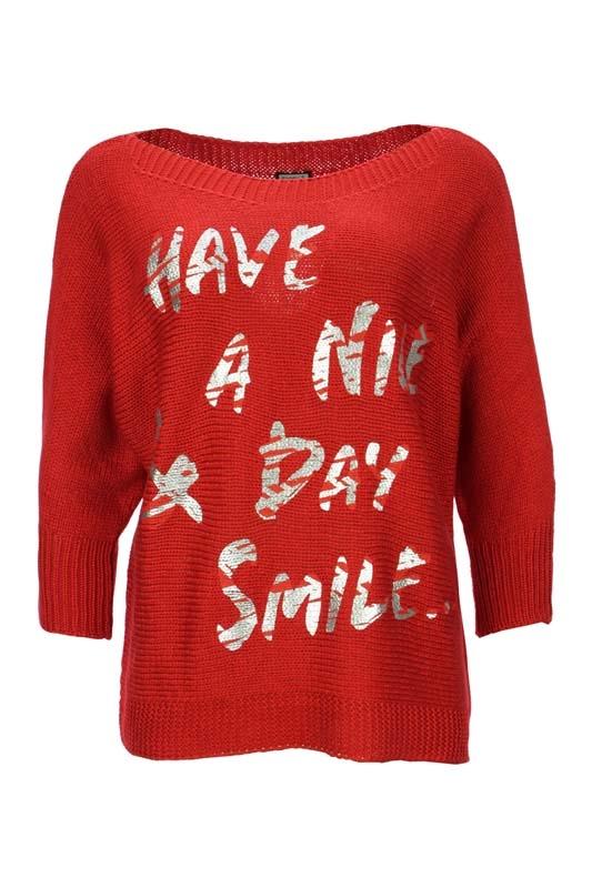 Dámský červený svetr s rukávem Kenny S.