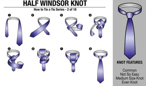 jak uvázat half windsor knot