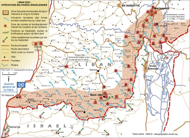 Carte du Sud Liban en 2006