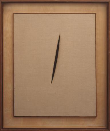 Spatial Concept 'Waiting' 1960 Lucio Fontana 1899-1968 Purchased 1964 http://www.tate.org.uk/art/work/T00694