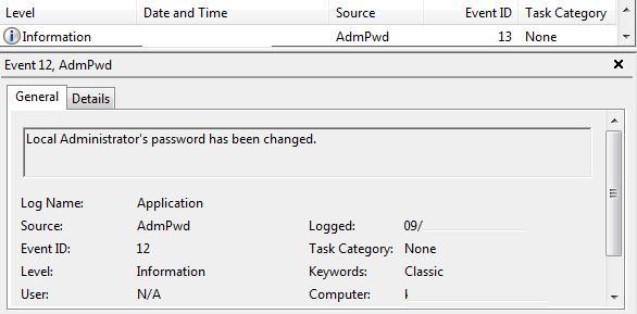 EventID 12 AdmPwd - password change