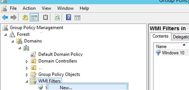 create wmi filter in group polici managment console