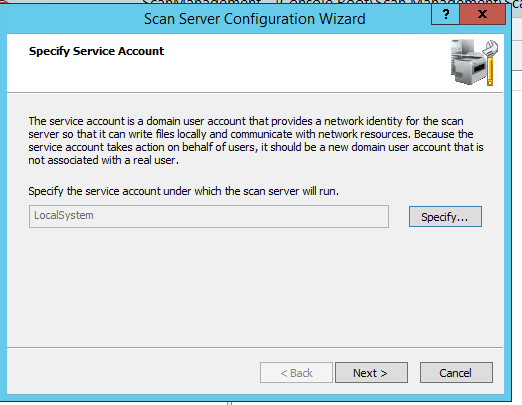 specify service account to run scan server