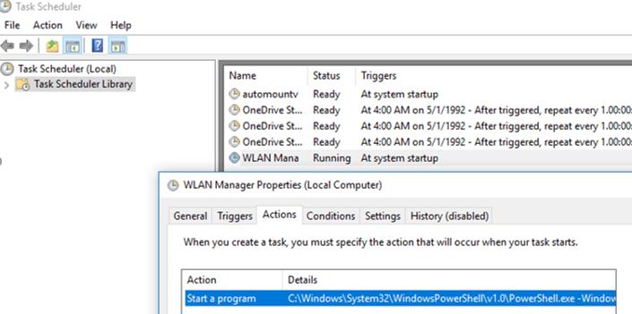 WLAN Manager task in windows 10