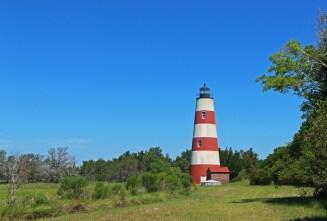 Lighthouse against the blue sky.