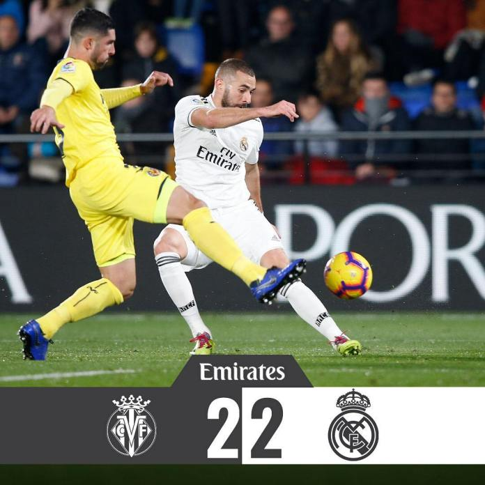 Real Madrid held to a 2 all draw by stubborn Villareal